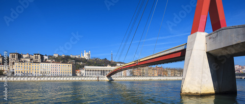 Panoramic view of Saone river and footbridge at Lyon