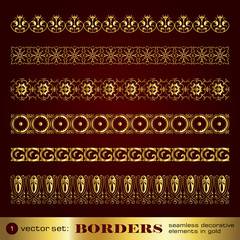 Borders seamless decorative elements in gold set 1