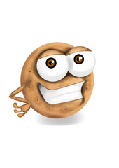 Happy digestive cookie cartoon character, smiling.
