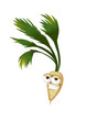 Cool, funny parsnip cartoon character with a big smile.