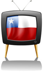 The flag of Chile inside the TV