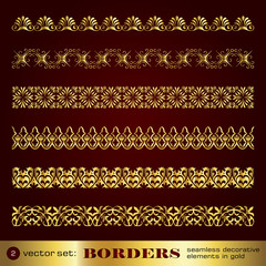 Borders seamless decorative elements in gold set 2