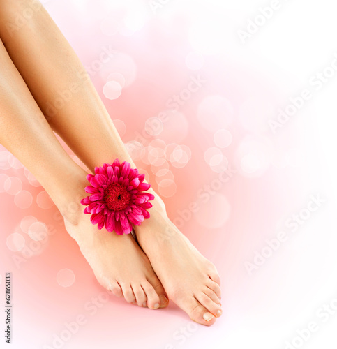 Woman's Feet isolated on white. Pedicure concept