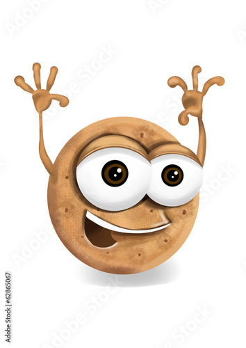 Happy digestive cookie cartoon character waving hands.