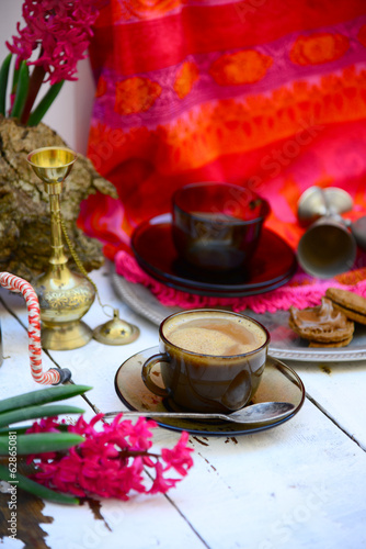 Coffee time in Eastern ethnic style and fucshia