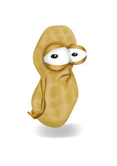 Sad brown peanut cartoon, a depressed, disappointed character.