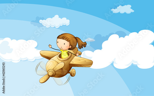 A wooden plane with a girl