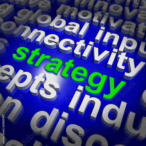 Strategy Word Cloud Shows Business Solution Or Management Goal