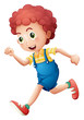 A curly young boy running