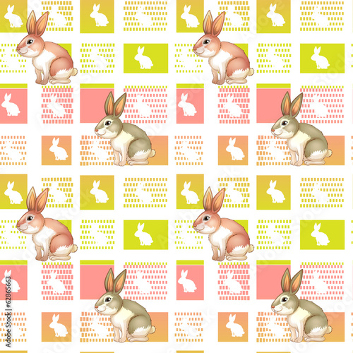 A seamless design with bunnies
