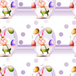 A seamless design with a bunny and Easter eggs