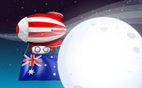 An air balloon travelling with the flag of Australia