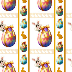A seamless template with eggs and bunnies