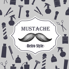 Barber shop old fashioned mustache emblem