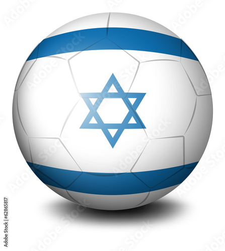 A soccer ball with the flag of Israel