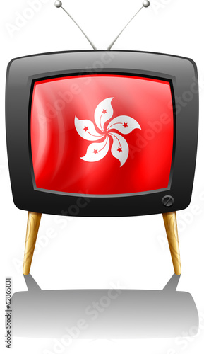 A TV showing the flag of Hongkong