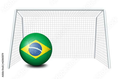 A soccer ball with the flag of Brazil