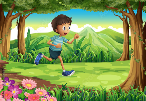 A boy running at the jungle