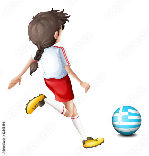 A female football player from Greece