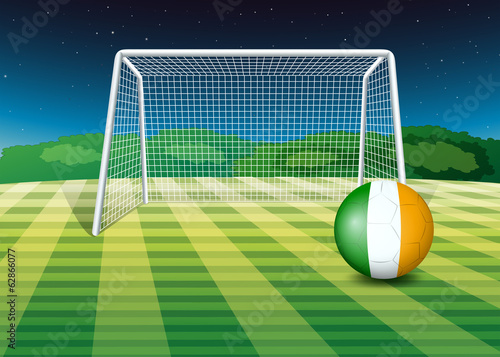 A ball at the field with the flag of Ireland