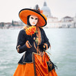 Carnival of Venice, beautiful mask at St. George island with Mar