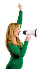 lachende Frau mit Megaphon