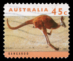Stamp printed by Australia, shows kangaroo, circa 1994