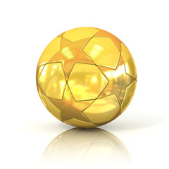 golden football - soccer ball with star pattern