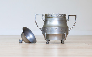 Retro silver sugar bowl