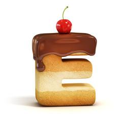 cake 3d font letter E