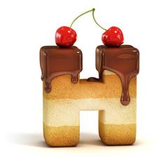 cake 3d font letter H