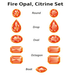 Fire Opal, Citrine Set With Text