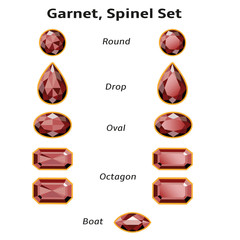 Garnet, Spinel Set With Text