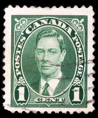 Stamp printed in Canada, shows portrait of King George VI