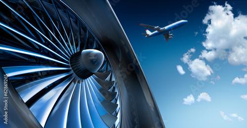 Leinwanddruck Bild Turbine und Flugzeug