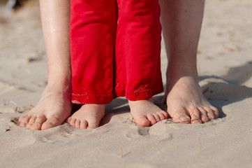 Feet and toes in the sand