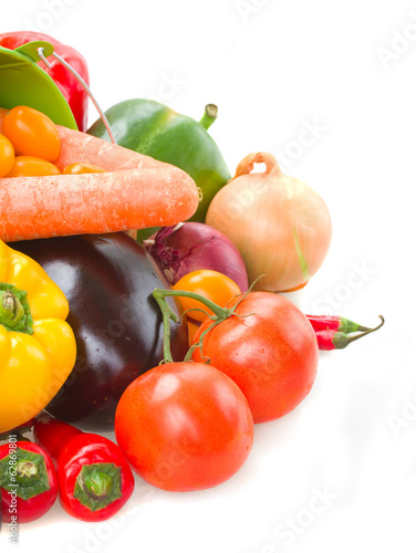 ripe of fresh vegetables in green pot