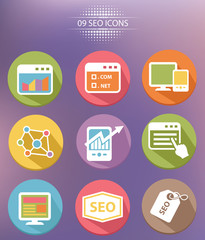 9 SEO Marketing Flat icons
