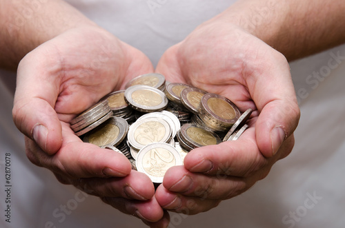 coins in hands