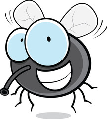 Grinning Cartoon Fly