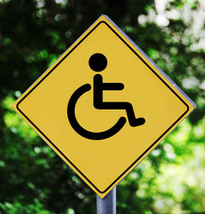 Yellow label with pictogram with wheelchair pictogram