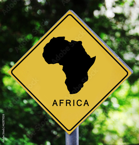 Yellow label with Africa pictogram
