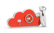 Cloud and safe lock with businessman
