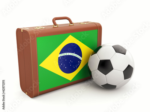 Suitcase with Brasil flag and soccer ball