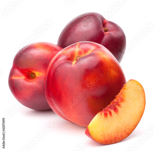 Nectarine fruit isolated on white background cutout