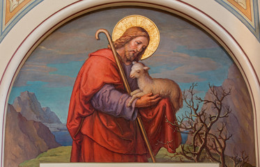 Vienna - Fresco of Jesus as good shepherd