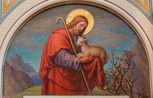 Vienna - Fresco of Jesus as good shepherd - 62871846