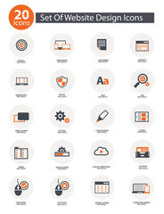 20 Set Of Web Design Icons,Orange version,vector