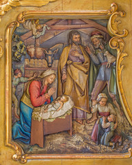 Trnava - Adoration of pastores carved relief in Jesuits church