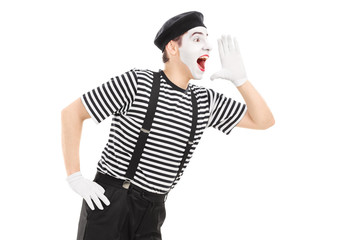 Mime artist shouting